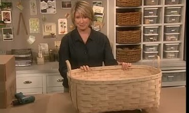 Martha Stewart Adds Casters to a Large Basket.