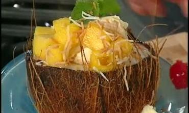 Pineapple Flambe with Creamy Coconut Ice Cream