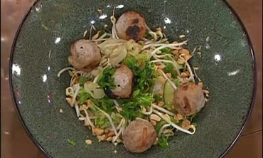 Rice Noodle Meatball Dish with Nuoc Cham Sauce
