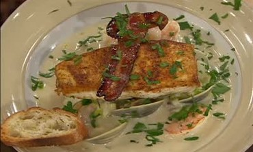 Shrimp Chowder Topped with Pan Roasted Halibut