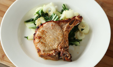 Soy Ginger Pork Chops with Stir-Fried Bok Choy