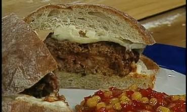 Tuna Steak Burgers on Cilantro and Onion Rolls