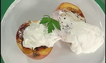 Baked Peaches In Brown Sugar With Whipped Cream