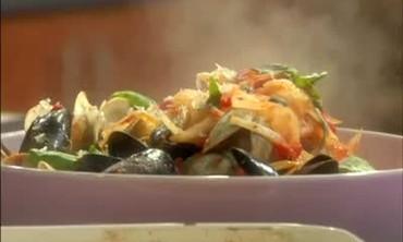 Chicken Mushroom Lasagna and Shellfish Linguine