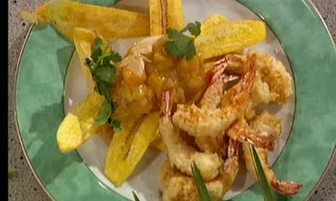 Coconut Shrimp with Plantains and Mango Chutney