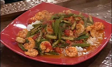 Fried Okra with Shrimp from Mozambique Recipe