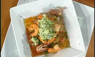 Gazpacho with Mashed Avocado and Smoked Seafood