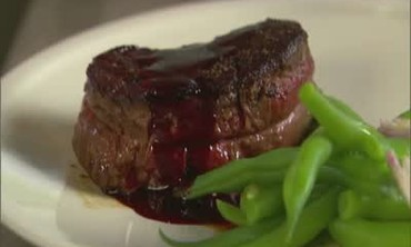 Pepper-Crusted Filet Mignon with Red Wine Sauce