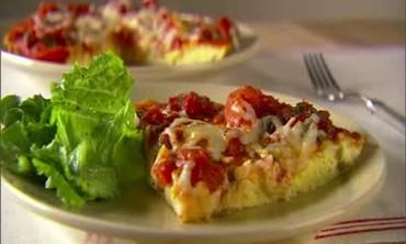 Pizza Frittata with Tomato Sauce and Mozzarella