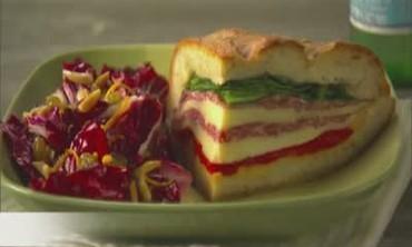 Salami Sandwich with Radicchio and Orange Salad