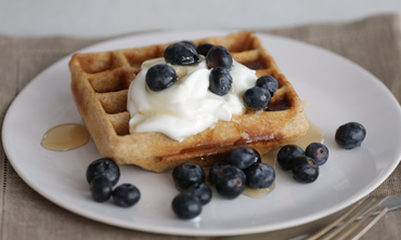 Whole Grain Waffles with Blueberries and Yogurt
