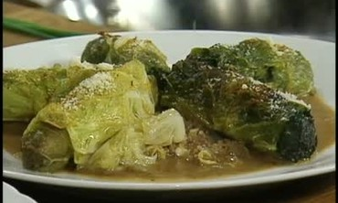 Wild Boar Sausage in Cabbage Leaves over Ragout