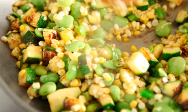 Chicken Succotash with Avocado and Farmer Cheese