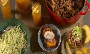 Coleslaw, Grilled Peaches, and Shredded Pork Roast