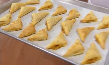 Crawfish Turnovers with Artichoke and Cheese Dip
