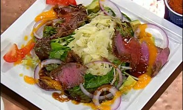 Ginger-Mango Flank Steak with Fennel Slaw Recipe