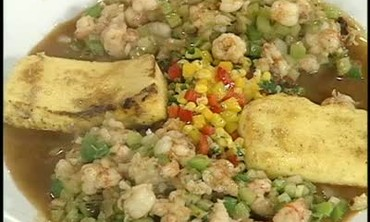 Shrimp Ragout with Corn Relish and Fried Polenta