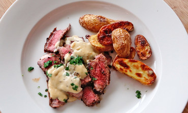 Steak au Poivre with Roasted Fingerling Potatoes