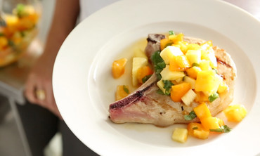 Yellow Tomato-Pineapple Relish with Pork Chops