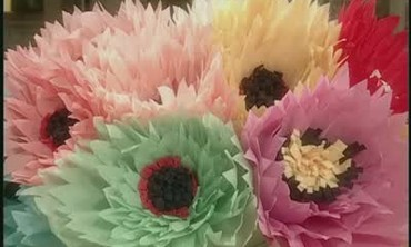 Crepe Paper Blooms for Birthday Party Centerpiece