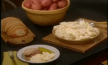 Delicatessen Potato Salad and Liverwurst Sandwich