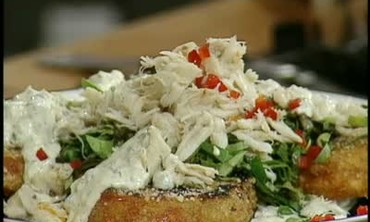 Emeril's Fried Tomatoes with Ravigote and Crabmeat