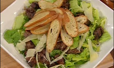 Fillet Mignon Ceasar Salad with Stuffed Mushrooms
