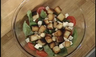 French Bread Salad with Tomatoes, Basil and Garlic