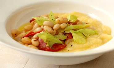 Polenta with White Bean and Roasted-Pepper Ragout
