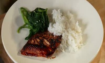 Seared Arctic Char Teriyaki with Rice and Spinach
