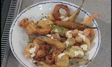 Shellfish Fritto Misto Dish with Sauteed Tomatoes