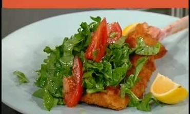 Breaded Veal with Chopped Arugula and Tomato Salad
