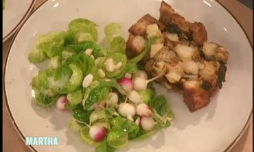 Brussels Sprout Leaves and Crunchy Garden Radishes