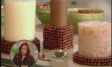 Candle Holders Adorned with Hazelnuts and Crystals