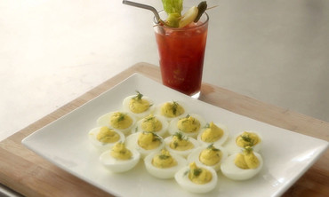 Dilled Deviled Eggs and Spice-and-Salt Bloody Mary