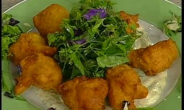 Herb Salda with Shrimp Fritters and Herb Mayonnais