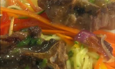 Pan Seared Lamb with Julienne Vegetables and Sauce
