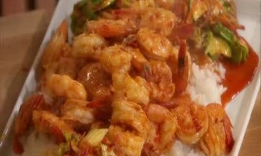 Red Hot Shrimp with Rooster Sauce over Sticky Rice