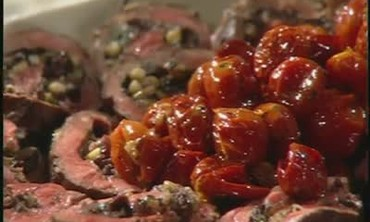 Stuffed Flank Steak with Onions and Kalamata Olive