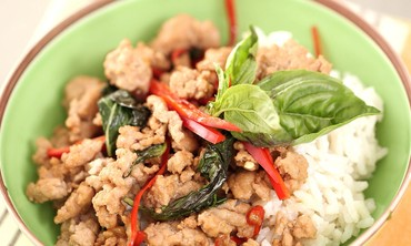 Spicy Thai Basil Pork with Sweet Coconut Rice Recipe