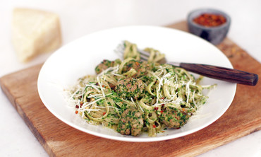 Broccoli Rabe Pesto with Whole Wheat Pasta and Sausage