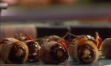 Bacon-Wrapped Dates Stuffed with Cream Cheese and Almonds