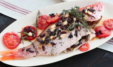 Whole Roasted Red Snapper with Tomatoes, Lemons, Thyme and Parsley