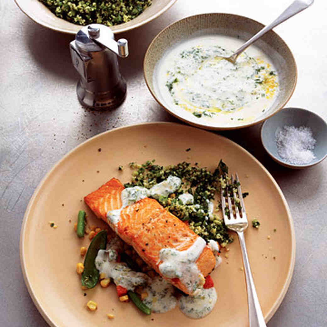 Pan-Seared Salmon with Lemon-Dill Yogurt Sauce