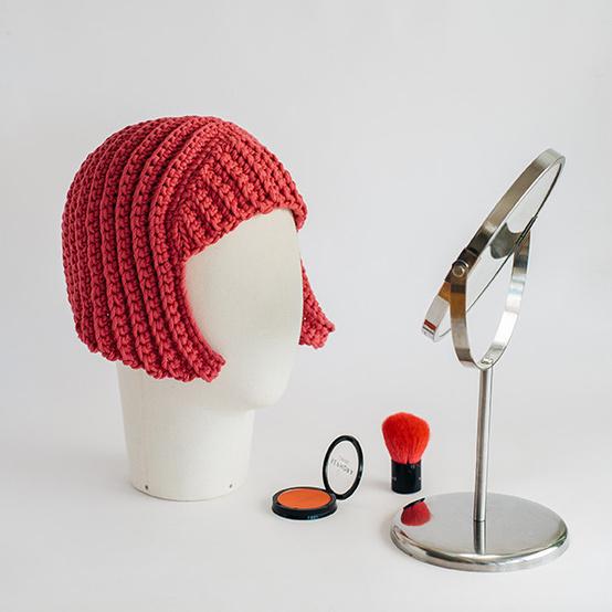 Crocheted wig made of yarn for Halloween