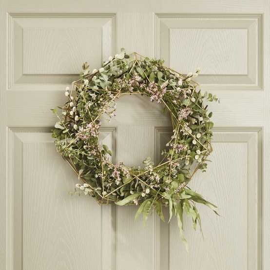 spring wreath on a door