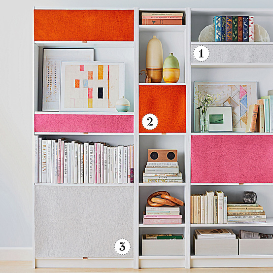 cabinets with DIY felt curtains