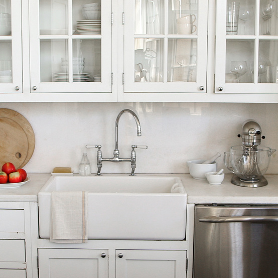 white kitchen cabinets and counter