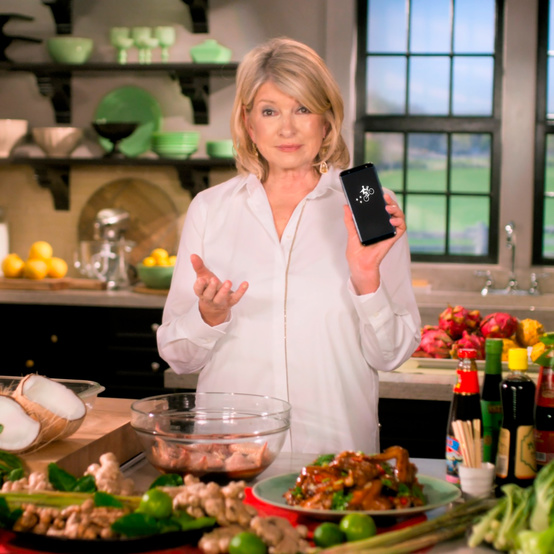 Martha Stewart appears in a Postmates commercial.