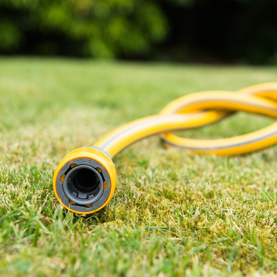 hose knotted on lawn